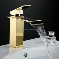 Wholesale And Retail Deck Mount Gold Waterfall Bathroom Faucet Vanity Vessel Sinks Mixer Tap Cold And Hot Water Tap XR502-1