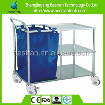 BT-SLT006 CE ISO Approved stainless steel 3 layers one dust bag medical garbage cart