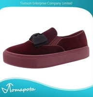 Women fashion bow velvet burgundy casual shoes platform skate sneakers shoe