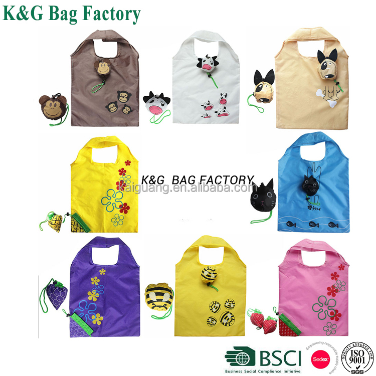 Cartoon Tote Shopping Bag Monkey Pig Cow Dog Foldable Shopping Bags eco Reusable Folding Recycle Shopping Bag 12KG Bearing