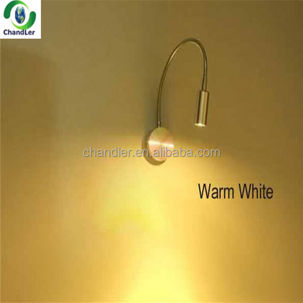 1w/3w led flexible gooseneck wall light led reading lamp AC85-265v