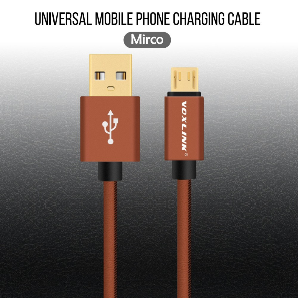 Voxlink PU Leather Gold-Plated USB Charger Data Cable Micro USB Cable