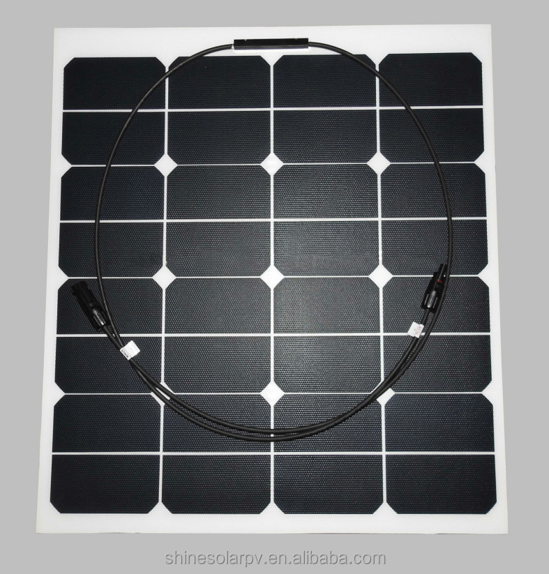 Portable ETFE solar cells high efficiency 50w flexible solar panel,waterproof semi flexible solar panel