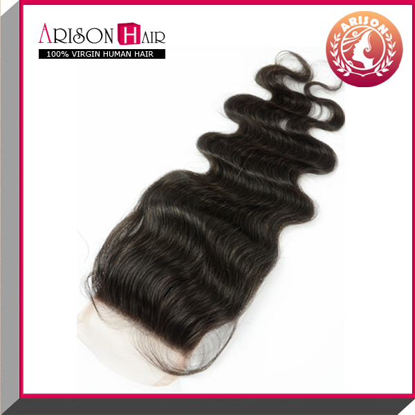 large stock for promotion top quality body wave in 4*4 lace closure