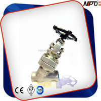 F304 Socket Welded/NPT Threaded Y Type Forged Globe Valve