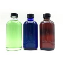 Chemical saline clear blue amber glass 8oz boston round bottle