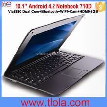 China Supplier Dropship Laptop 10'' Via8880 Android Flash Memory Notebook 710D