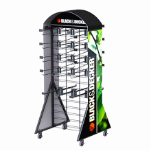 BDD-SO548 floor metal sport gloves display rack,retail store furniture,metal display stand with hooks
