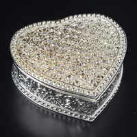 Vintage Style Sparkling Heart Shape Rhinestone trinket jewelry ring box birthday/Vanlentine's gift for her