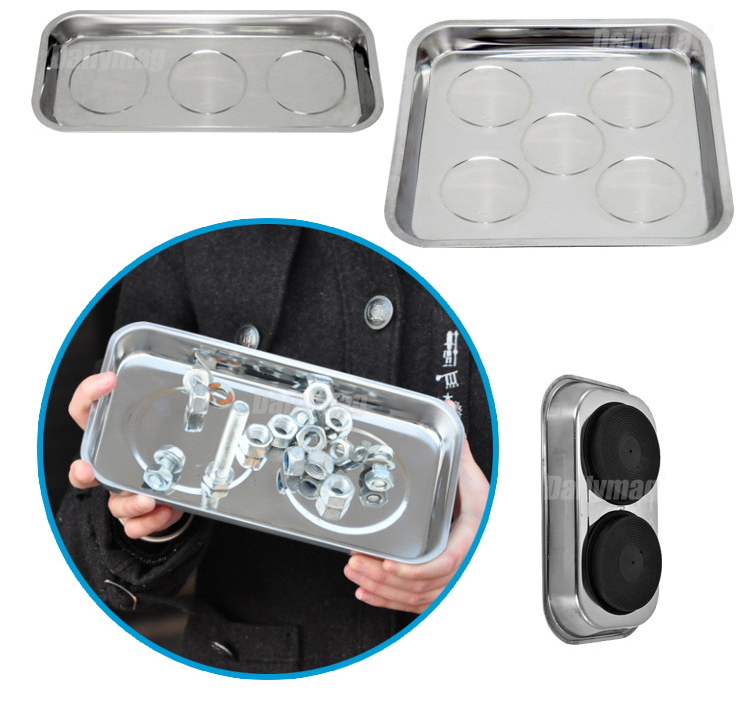 Automotive Car Repair Stainless Steel Round Magnetic Tool Parts Tray Holder Bowl Plate