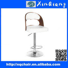 XQ-014 Fashion Plywood Comfortable Wooden Bar Stool with Backrest and Footrest