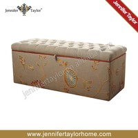 linen embroidery indoor waiting storage bench