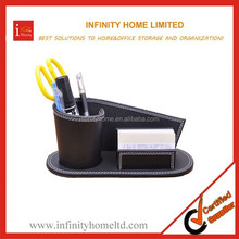 Versatile wood glass creative pen holder with card case