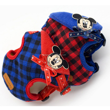 Hot Sale Mickey Small Puppy Plaid Harness Set Leads for Dog