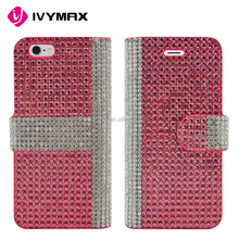 IVYNAX2016 New design magnet wallet leather case bling diamond for iPhone 6s mobile phone accessories