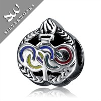 Good Quality Funky Silver The Olympic five rings Shape Jewelry Beads, 925 silver jewelleri brazil
