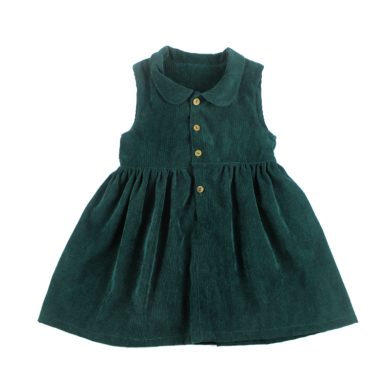 kids girls evening dresses girls korean peter pan collar green corduroy frocks dresses