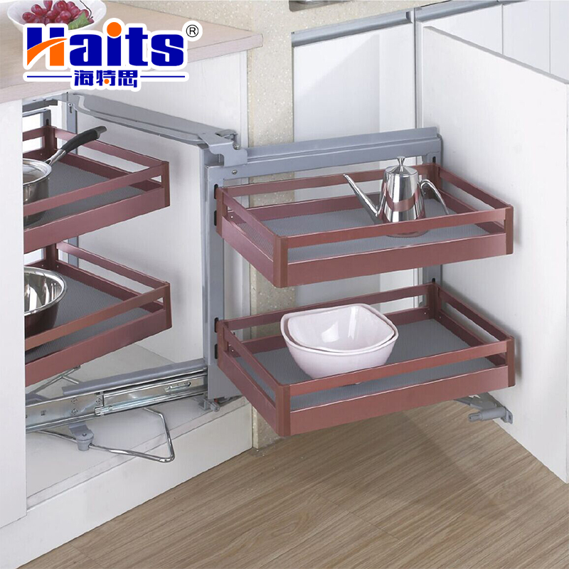 High quality metal cabinet accessories furniture hardware two layers Pull-out Basket
