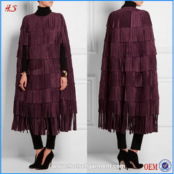 Most popular and fashion style clothing manufacturer woman elegant clothing burgundy fringed suede cape