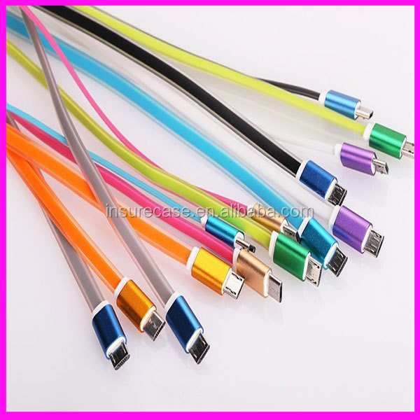 2015 new style Aluminum jelly flat cable, Flat 5 Pin Micro USB Data Charging Cable For Samsung