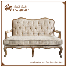 Occasional French button tufted settee loveseat chair with wooden arm