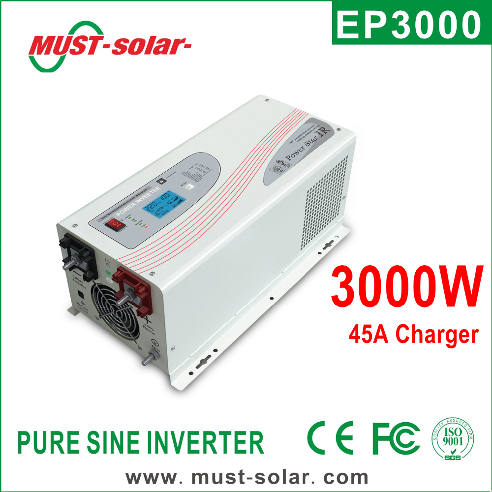 Voltage converter 220 110 with pure sine wave battery charger/ Must Solar Inverter