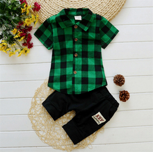 Boy's Clothing <strong>Sets</strong> Summer Casual Kids Clothes Plaid Shirt Short Sleeve Pants <strong>Children</strong> Baby Boy Clothing <strong>Sets</strong> Two Piece <strong>Set</strong>