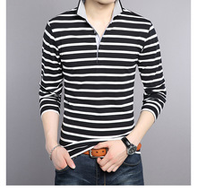 Autumn Long Sleeve Striped Young Slim Pure Cotton Men's V-neck T-shirt