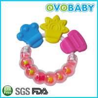 2016 new funny food grade silicone baby teether toys and rattles BPA FREE