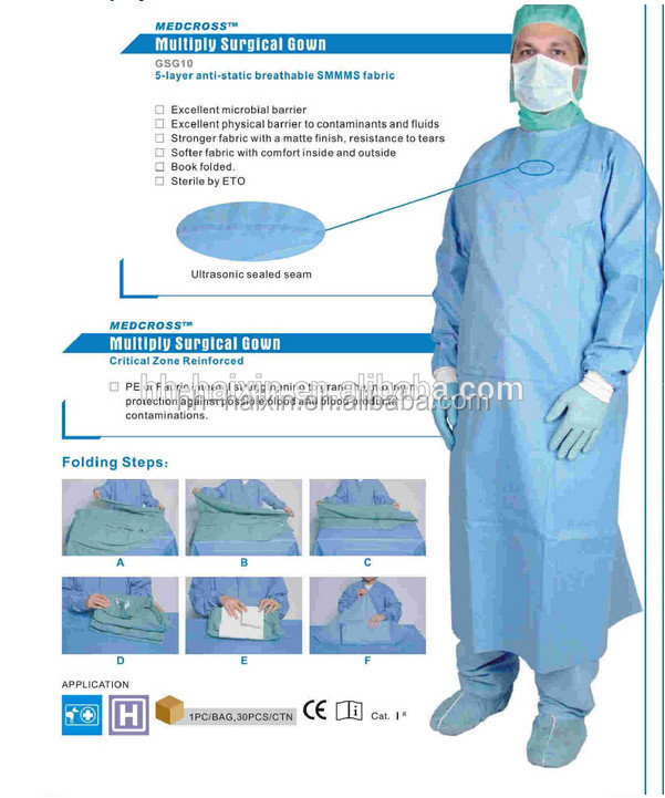 EN 13795 SMMMS/SMMS Reinforced Surgical Gown with Cardboard, AR/AS Treated