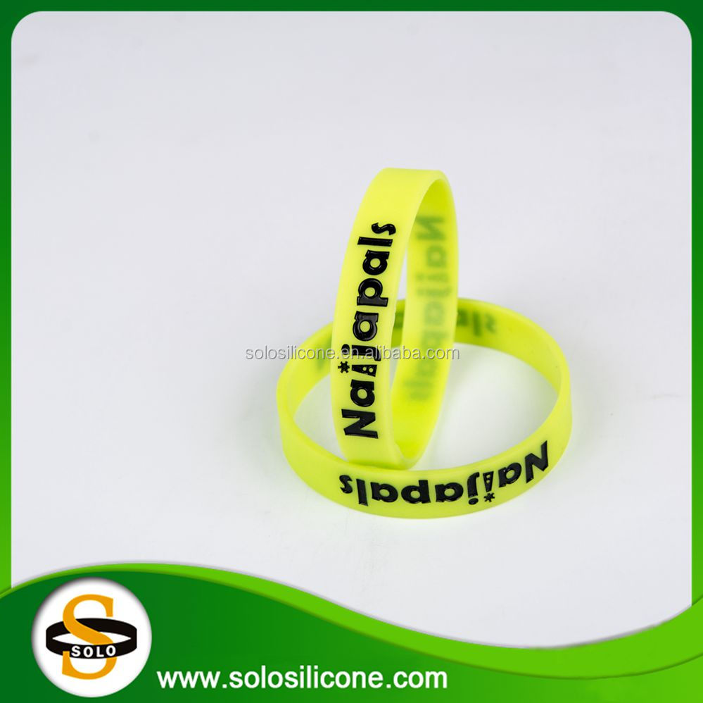 Wholesale novelty printed band debossed with ink filled silicone bracelets