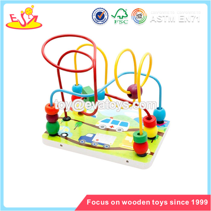 Wholesale best selling mini roller coaster wooden string beads game for kids W11B112