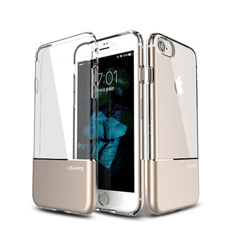 new design aluminum metal+clear tpu case for iphone 7 combo case