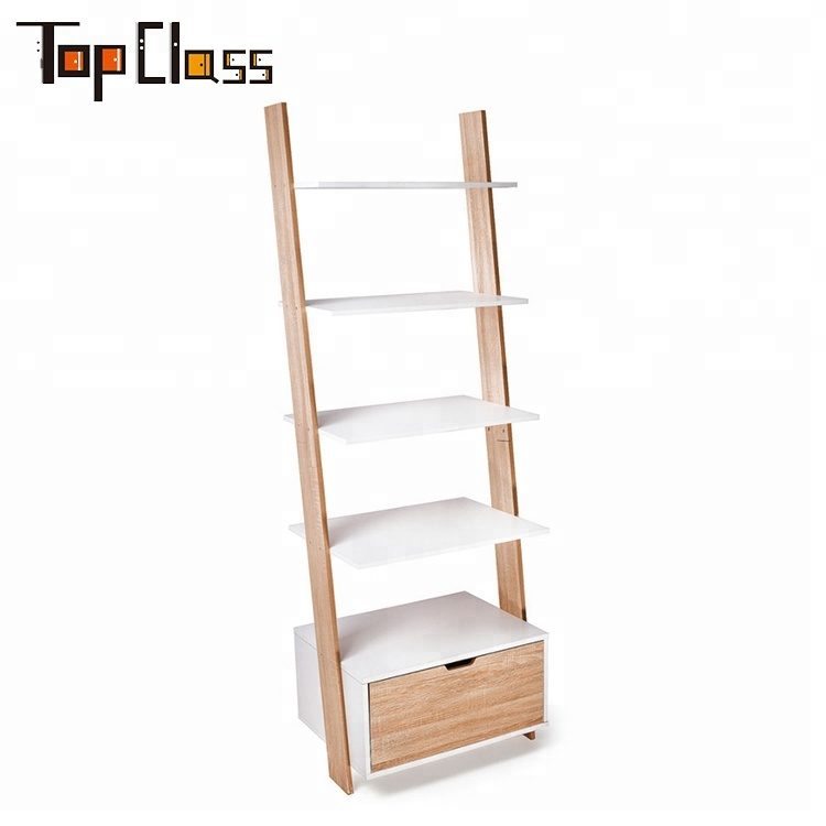 Unique type customization home office 5 tiers ladder shelf bookcase with drawer