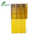 compact laminate gym club yellow color locker with key lock