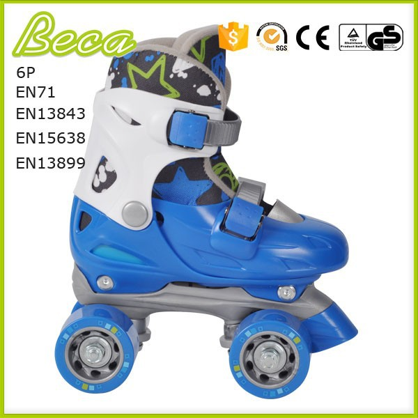 wholesale mix color adjustable blue roller quad skate for kids