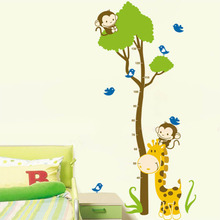 Animal Wall Stickers Giraffe Kids Growth Chart Height Measure for Kids Room