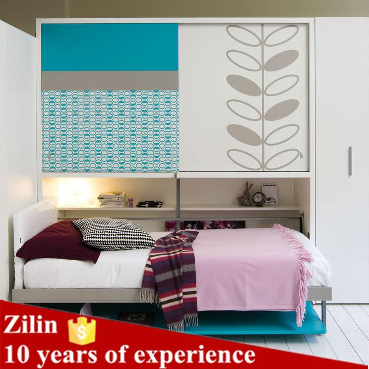 Opvouwbare wand bed stapelbed bed met bureau eronder - Stapelbed met geintegreerd bureau ...