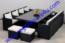 outdoor luxury 13pcs synthetic rattan cube dining set furniture RLF-012DT