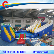 Shark inflatable slide combo / giant inflatable water park with pool / Commercial Inflatable Water Slides