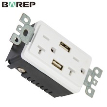 BAS20-2USB Household use electric switch female receptacle with usb