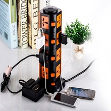 Smart 15-Outlet Home / Office Surge Protector Power Strip 2500W 110-250V Worldwide Voltage Power Cube With 2 USB Outputs