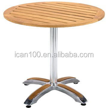 Aluminium willow wood table for coffee shop outdoor furniture