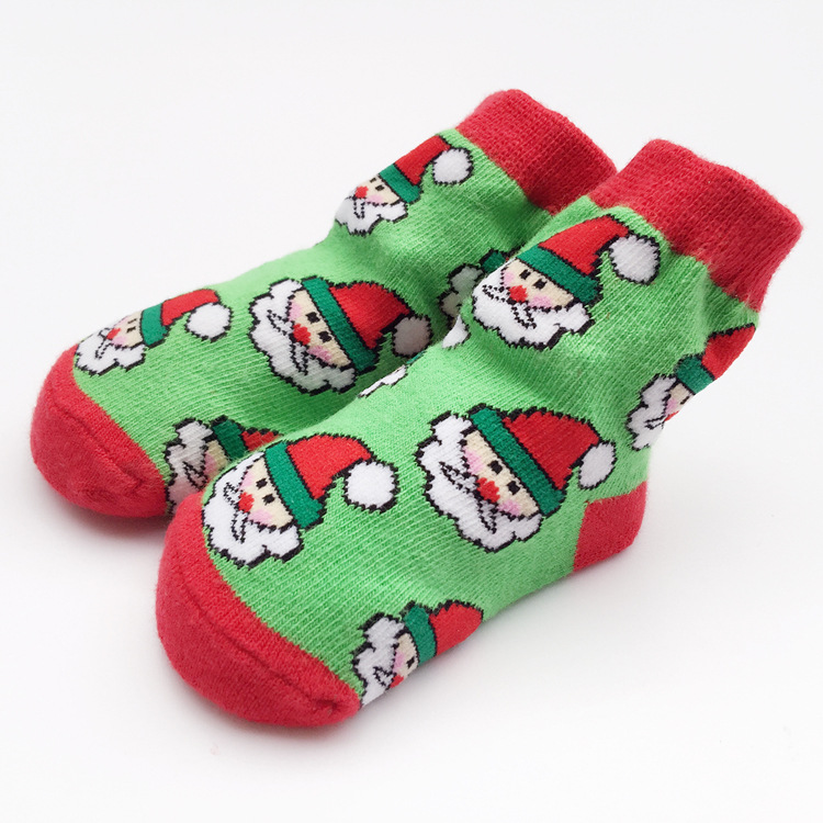 S32363W Christmas Themed Children Pure Cotton Cartoon Jacquard Socks Red Christmas Baby Socks