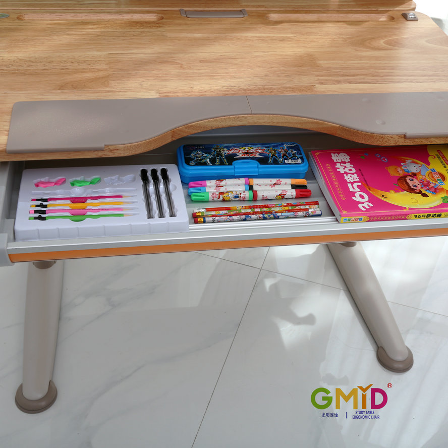 GMYD Height Adjustable Rubber Wood Study Table Children