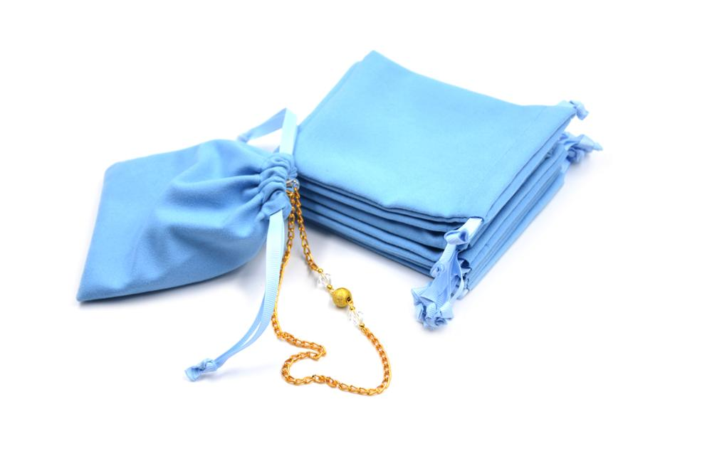 Unique Custom Size Microfiber Fabric Jewellery Pouch Bag with two side drawstring