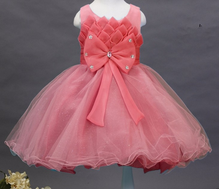 2017 hot sell New lotus crystal decoration bow dress princess dress skirt