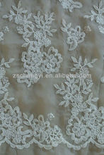 ivory organza mesh base embroidery cord lace fabric