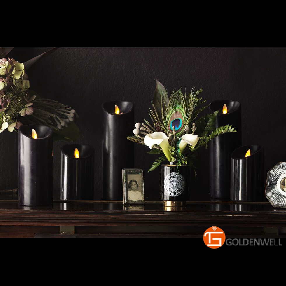 Luminara Led Black Pillar Candles with Real Flame for Home Decor