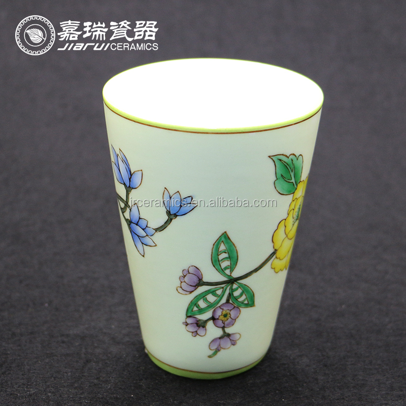 Chinese Hand Paint Ceramics White Pink Blue Green Yellow Porcelain Tea Coffee Water Kids Cup